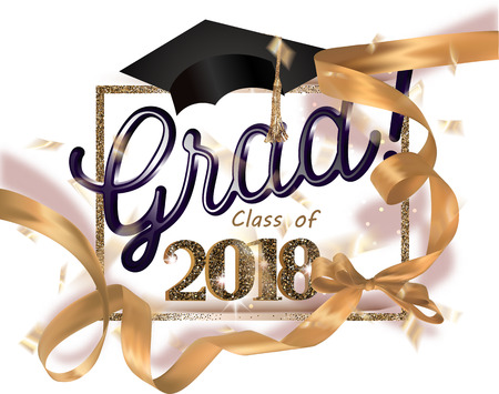 Graduation party 2018 banner with gold ribbon, frame and confetti. Vector illustration