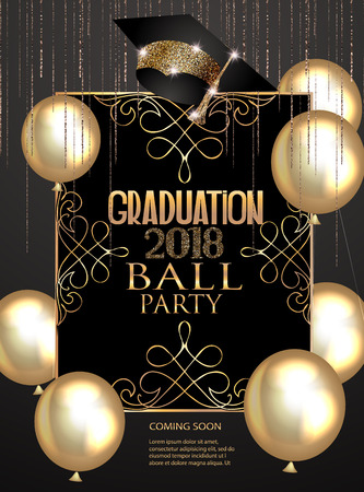 Graduation party elegant banner with golden design elements and air balloons. Vector illustration