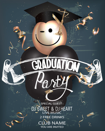 Graduation party with chalk lettering, serpentine and air balloons. Vector illustration