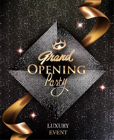 Grand opening of an elegant invitation cards with gold ribbon and circle pattern background. Vector illustration Vetores