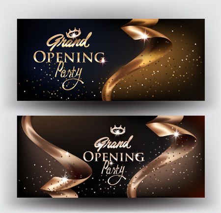Grand Opening elegant invitation cards with gold ribbons and gold dust. Vector illustration  イラスト・ベクター素材