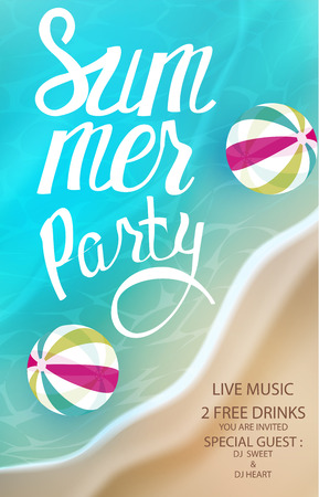 Summer party poster with inflatable balls in a sea water. View above. Vector illustration Ilustração