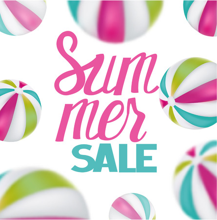 Summer sale with unflatable balls. Vector illustration