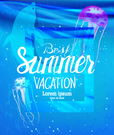 Summer vacation banner with jellyfishes and dolphin in a sea water. Vector illustration