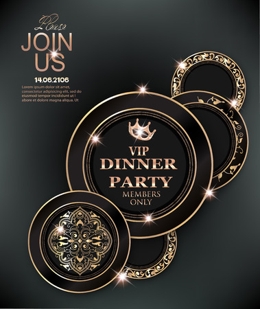 Dinner party elegant invitation card with deco floral elements and pattern. Vector illustration Stock Vector - 103666819