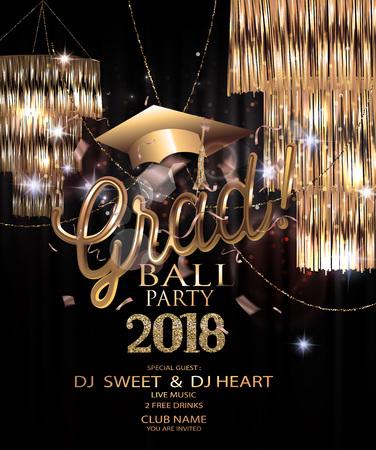 Graduation party 2018 invitation card with sparkling hanging lamps, confetti and garlands. Vector illustration