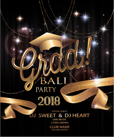 Graduation party invitation card with golden sparkling, ribbons, confetti and garlands. Vector illustration