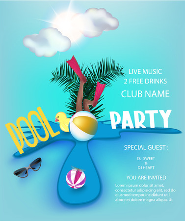 Pool party poster with inflatable toys in a puddle, clouds and sun. Vector illustration