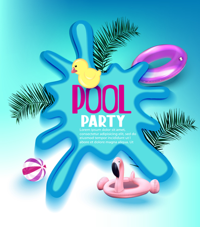 Pool party poster with inflatable toys, palm tree branches and puddle. Vector illustration Иллюстрация