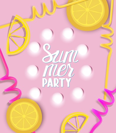 Summer party banner with light bulbs, citrus slices and drink straws. Vector illustration