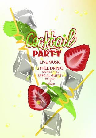 Cocktail party with cocktail objects and strawberry. Vector illustration