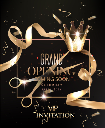 Grand opening Vip invitation card with crown and golden ribbons. Vector illustration