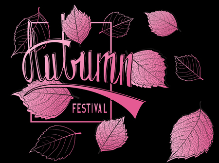Autumn festival announcement banner with pink falling leaves and handdrawn letters. Vector illustration