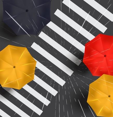 Autumn street under the rain. Vector illustration