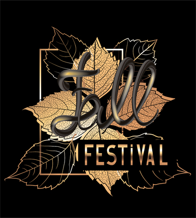 Fall festival announcement banner with golden falling leaves and volume letters. Vector illustration