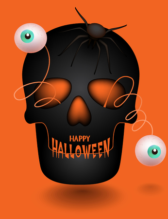 Halloween greeting card with skull with jumped out eyes and spider. Vector Illustration