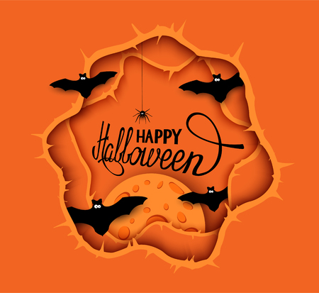 Halloween orange background with cartoon paper design elements. Vector Illustration