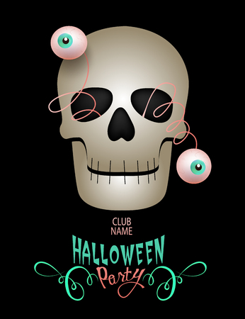 Halloween party invitation card with funny scull with jumped eyes. Vector Illustration Illustration