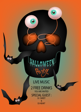 Halloween party invitation card with funny scull with jumped eyes and bats. Vector Illustration