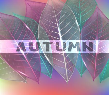Skeleton colorful leaves. Autumn background. Vector illustration