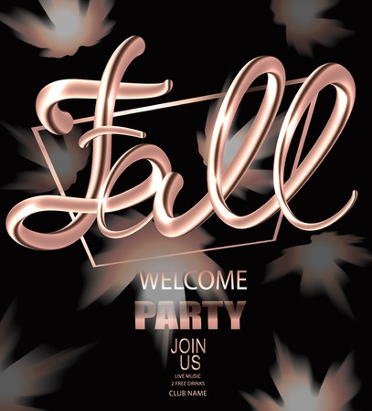Fall welcome party announcement banner with gold maple leaves and volume letters. Vector illustration Vectores