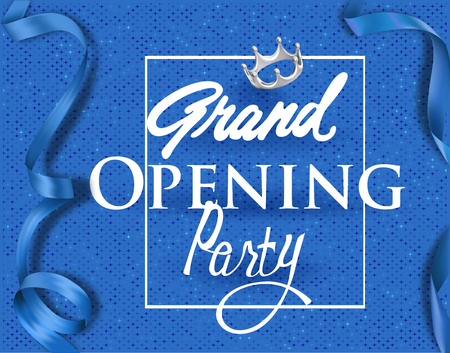 Grand opening invitation card with blue elegant ribbons and background. Vector illustration  イラスト・ベクター素材