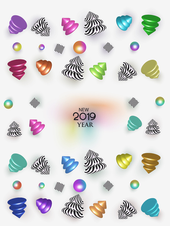 New year 2019 abstract background with colorful and striped christmas design objects. Vector illustration Vectores
