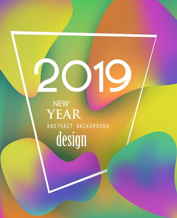 New year 2019 abstract background with colorful liquide design elements. Vector illustration Banque d'images - 107689032