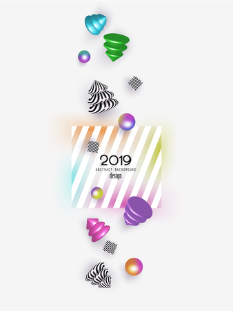 New year 2019 abstract background with falling colorful and striped christmas design elements. Vector illustration