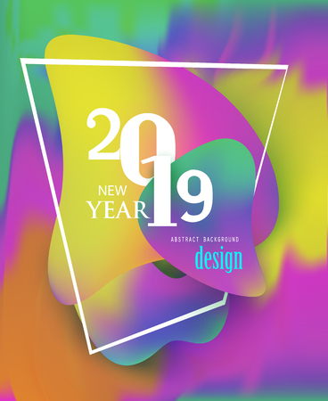 new year 2019 bright poster with colorful background and liquide design elements. Vector illustration Banque d'images - 107689034