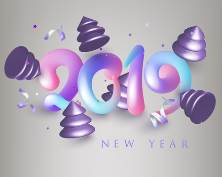 New Year 2019 poster with colorful volume letters and christmas trees. Vector illustration