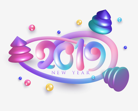 New year 2019 poster with colorful volume letters, frame and christmas trees. Vector illustration