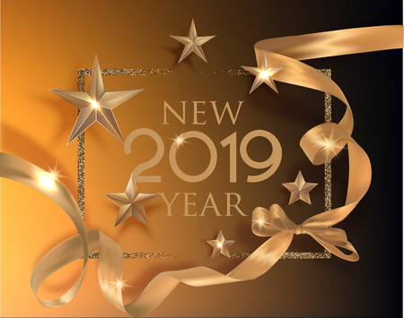 New Year 2019 poster with deco stars and golden curly ribbon. Vector illustration