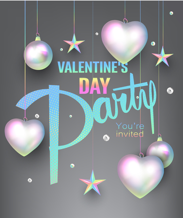 Valentines Day greeting card with pearl colored deco objects. Vector illustration Ilustração