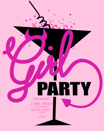 Girls party poster with devil style Vector illustration Stock Vector - 116733316