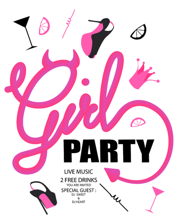 Girls party with devil style lettering and girls party objects. Vector illustration