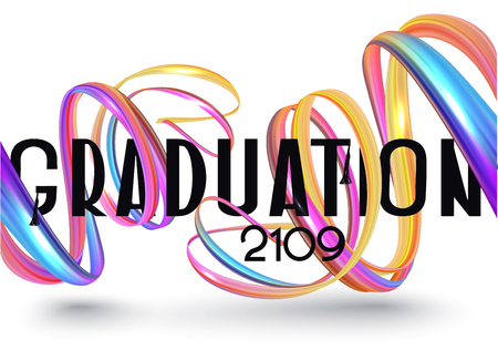 Graduation 2019 invitation card with colorful abstract ribbons. Vector illustration Ilustrace