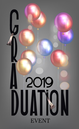 Graduation 2019 invitation card with colorful air balloons. Vector illustration