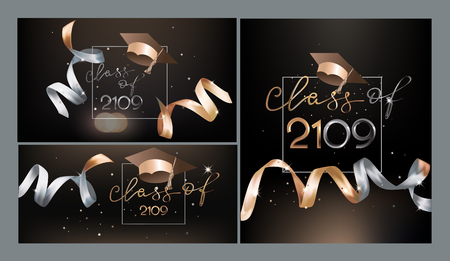 Graduation 2019 invitation cards with beautiful golden levitating ribbons and graduation caps. Vector illustration