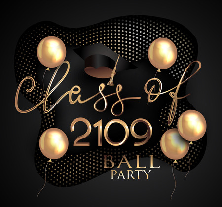 Graduation ball and gold balloons 일러스트