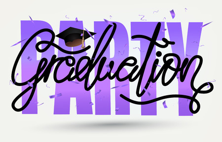 Graduation party card with graduation cap and letters. Vector illustration