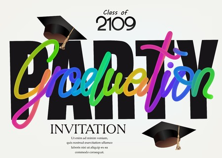 Graduation party invitation card with colorful lettering and graduation caps. Vector illustration