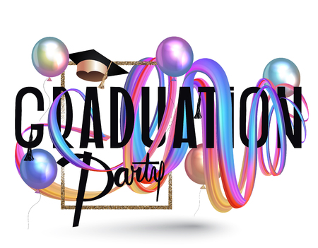 Graduation party invitation card with colorful levitating ribbons and air balloons. Vector illustration