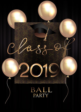 Graduation party invitation card with gold air balloons, sparkling background and graduation cap 向量圖像