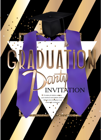 Graduation party invitation card with striped background and graduation objects. Vector illustration