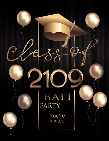 Graduation party poster with golden design elements. Vector illustration Stock Illustratie