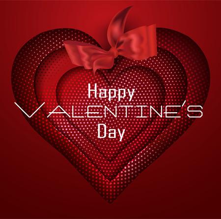 Valentines Day background with half tone hearts. Vector illustration Ilustração