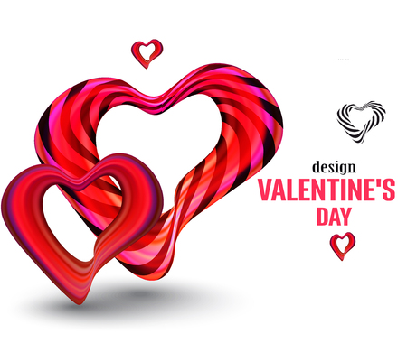 Valentines Day banner with red hearts. Vector illustration Banque d'images - 116733474