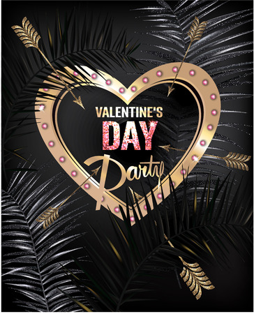 Palm tree leaves and arrows. Gold and black. Vector illustration