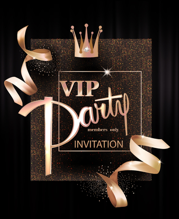 Vip invitation card with golden design elements. Vector illustration